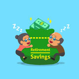 Cartoon old man and old woman falling asleep with retirement savings bag Royalty Free Stock Photos
