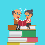 Cartoon old man and old woman reading book Royalty Free Stock Photo