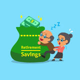 Cartoon old man and old woman with retirement savings bag Royalty Free Stock Photography