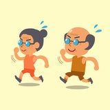 Cartoon old man and old woman running together Royalty Free Stock Photography