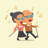 Cartoon old man and old woman walking and singing together Stock Photos