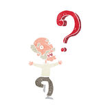cartoon old man with question Stock Photo