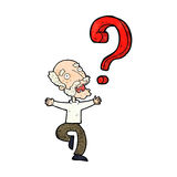 cartoon old man with question Royalty Free Stock Images