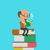 Cartoon old man reading book Royalty Free Stock Image