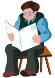 Cartoon old man reading newspaper Royalty Free Stock Images