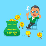 Cartoon old man with retirement savings bag and coins Stock Photography