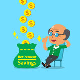 Cartoon old man with retirement savings bag Royalty Free Stock Photos