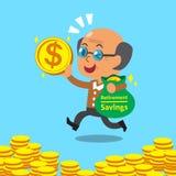 Cartoon an old man with retirement savings bag Stock Images