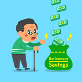 Cartoon old man with retirement savings bag Royalty Free Stock Photos
