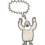 Cartoon old man shouting. Retro cartoon with texture. Isolated on White Royalty Free Stock Photos