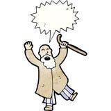 Cartoon old man shouting. Retro cartoon with texture. Isolated on White Stock Photos