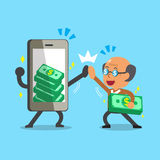 Cartoon old man and smartphone earning money Stock Photography