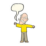 Cartoon old man spreading arms wide with speech bubble Stock Images