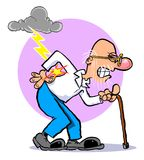 Cartoon old man. Cartoon of old man with back pain, walking bent over with cane on white Royalty Free Stock Photos