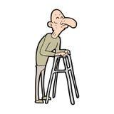 cartoon old man with walking frame Stock Photo