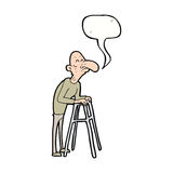 Cartoon old man with walking frame with speech bubble Stock Image