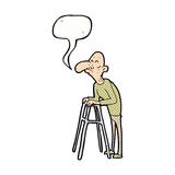 Cartoon old man with walking frame with speech bubble Stock Photography