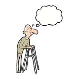 Cartoon old man with walking frame with thought bubble Royalty Free Stock Photography