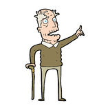 Cartoon old man with walking stick Royalty Free Stock Photo