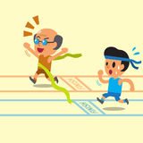 Cartoon old man winning a race before a young man Royalty Free Stock Images