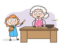 Cartoon Old Mother Teaching Cooking Recipe Vector Illustration stock illustration