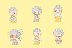 Cartoon old people catch cold. Cartoon old people catch a cold, great for your design Royalty Free Stock Photos