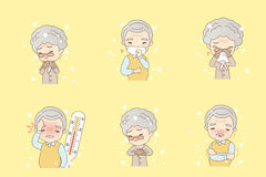 Cartoon old people catch cold. Cartoon old people catch a cold, great for your design Stock Image