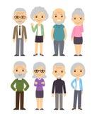 Cartoon old people set Stock Photos