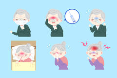 Cartoon old people sick. On the blue background Stock Photo