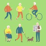 Cartoon old people spending leisure time vector illustration