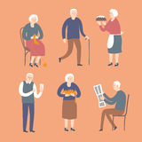 Cartoon old people spending leisure time Stock Images