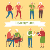 Cartoon old people taking care of their health Stock Photography