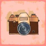 Cartoon old photo camera illustration, vector icon. Stock Image