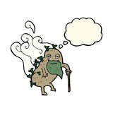 Cartoon old potato with thought bubble Stock Photography