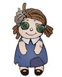 Cartoon old ragged doll Stock Photos