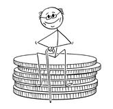 Cartoon of Old Retired Pensioner or Retiree Man Sitting on Small Stack of Coins. Cartoon stick drawing conceptual illustration of old retired pensioner or vector illustration