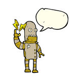 Cartoon old robot with speech bubble Royalty Free Stock Photo