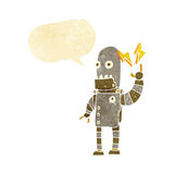 Cartoon old robot with speech bubble Stock Image