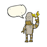 Cartoon old robot with speech bubble Stock Photography