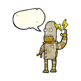 Cartoon old robot with speech bubble Royalty Free Stock Photos