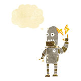 Cartoon old robot with thought bubble Royalty Free Stock Image