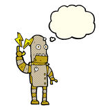 Cartoon old robot with thought bubble Royalty Free Stock Photos