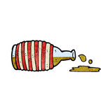 Cartoon old rum bottle Royalty Free Stock Images