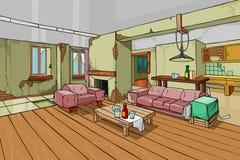 Cartoon old shabby apartment interior Royalty Free Stock Photo