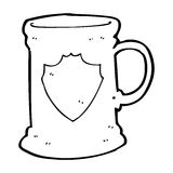 Cartoon old tankard. Black and White Line cartoon in retro style.  Vector available Royalty Free Stock Image