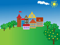 Cartoon old town Royalty Free Stock Images