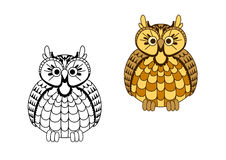Cartoon old wise eagle owl Stock Images