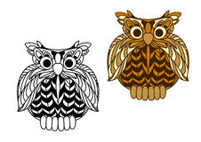 Cartoon old wise eagle owl character Stock Photography