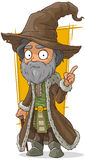 Cartoon old wizard in brown hat. A vector illustration of cartoon old wizard in brown hat Stock Photos
