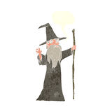 cartoon old wizard with speech bubble Royalty Free Stock Photography